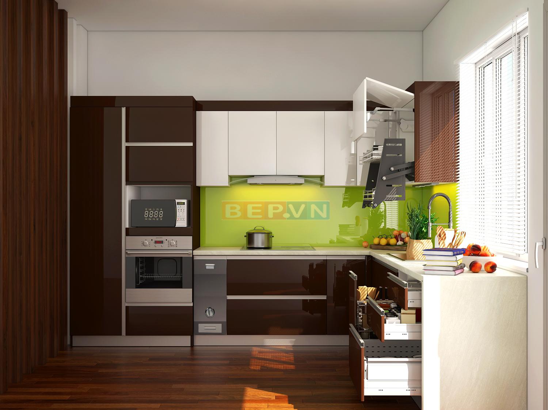 Lựa chọn tủ bếp màu nâu cùng tông màu với sàn nhà giúp tổng thể không gian trở nên hài hòa.