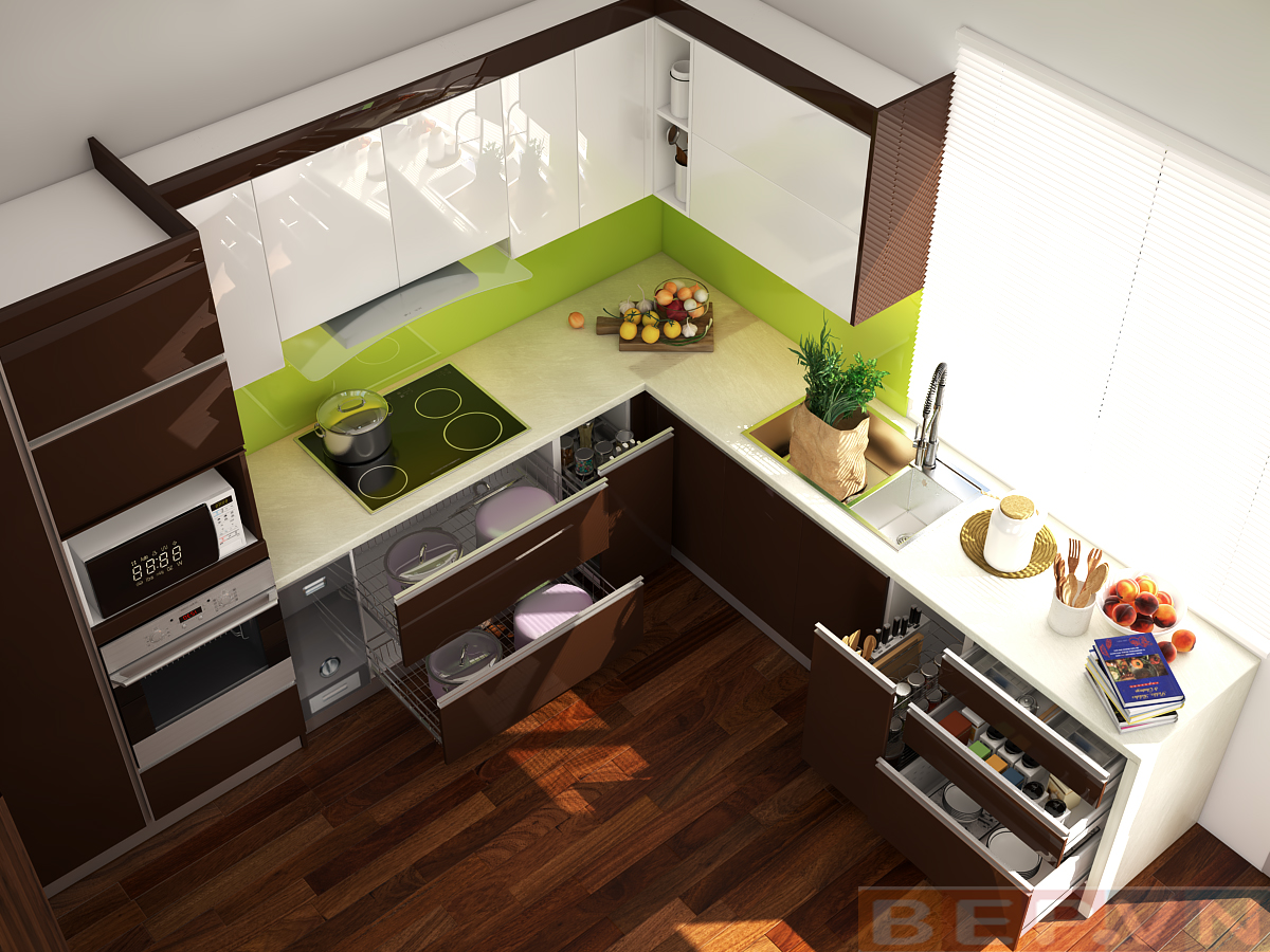 Điểm nhấn của hệ thống tủ bếp màu nâu cũng như không gian căn bếp chính là mảng tường chắn bếp với màu xanh bắt mắt.