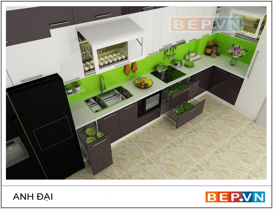 Được tích hợp các thiết bị hiện đại nhất dành cho một căn bếp hợp xu hướng nên căn bếp có hệ tủ bếp Acrylic chữ L ấn tượng gia đình anh Đại sở hữu đang là niềm ao ước của các gia đình khác.