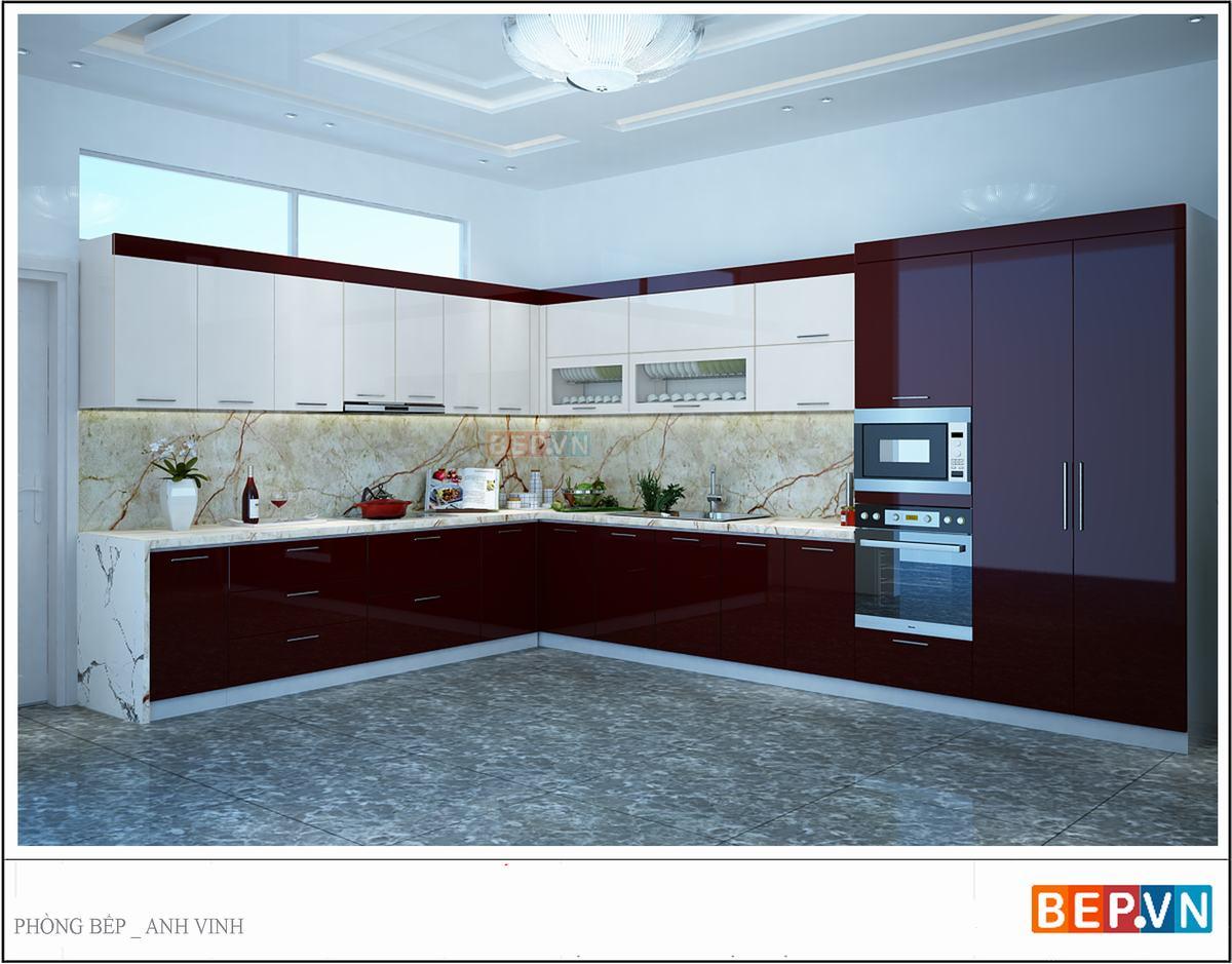 Tủ bếp Acrylic màu đỏ với thiết kế hình chữ L được kết hợp màu sắc và hoa văn của tường chắn bếp tạo nên tổng thể sang trọng và vô cùng bắt mắt.