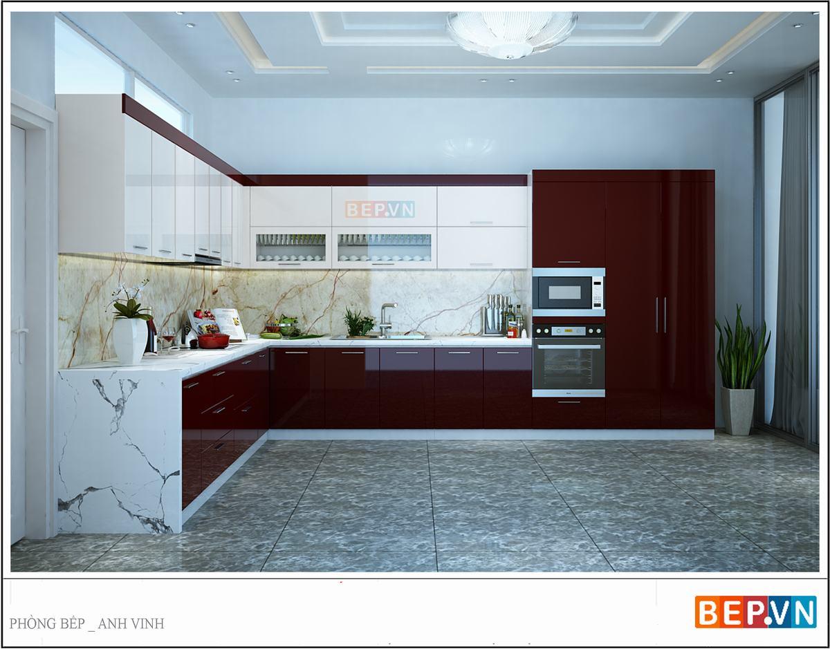Mẫu tủ bếp Acrylic màu đỏ này được ứng dụng khá rộng rãi trong các gia đình hiện đại bởi tính ứng dụng thực tiễn cũng như giá trị thẩm mỹ mà nó mang lại.