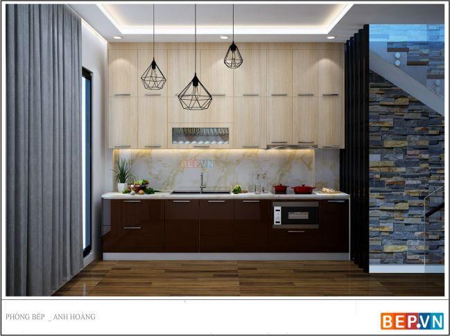 Màu sắc tủ bếp trên và dưới sử dụng tông màu chủ đạo phù hợp với không gian căn bếp cũng như không gian ngôi nhà.