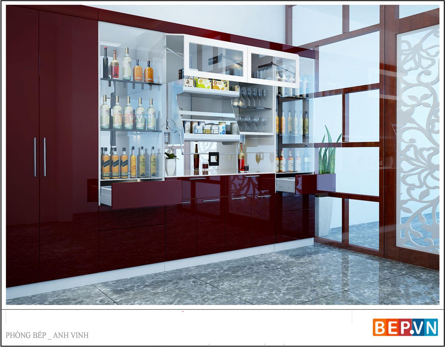 Không gian dành cho căn bếp khá rộng rãi thoải mái nên anh Vinh quyết định đặt tủ rượu nối dài với hệ tủ bếp.