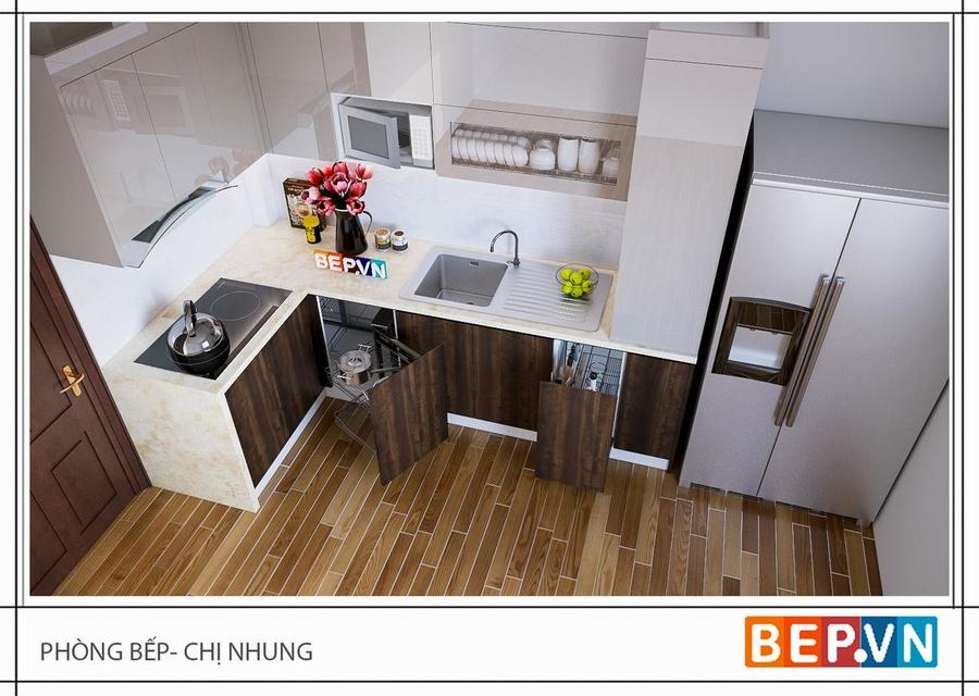Tủ bếp Acrylic và Laminate gia đình chị Nhung sử dụng mang lại sự sang trọng nhưng vô cùng ấm cúng và gần gũi.