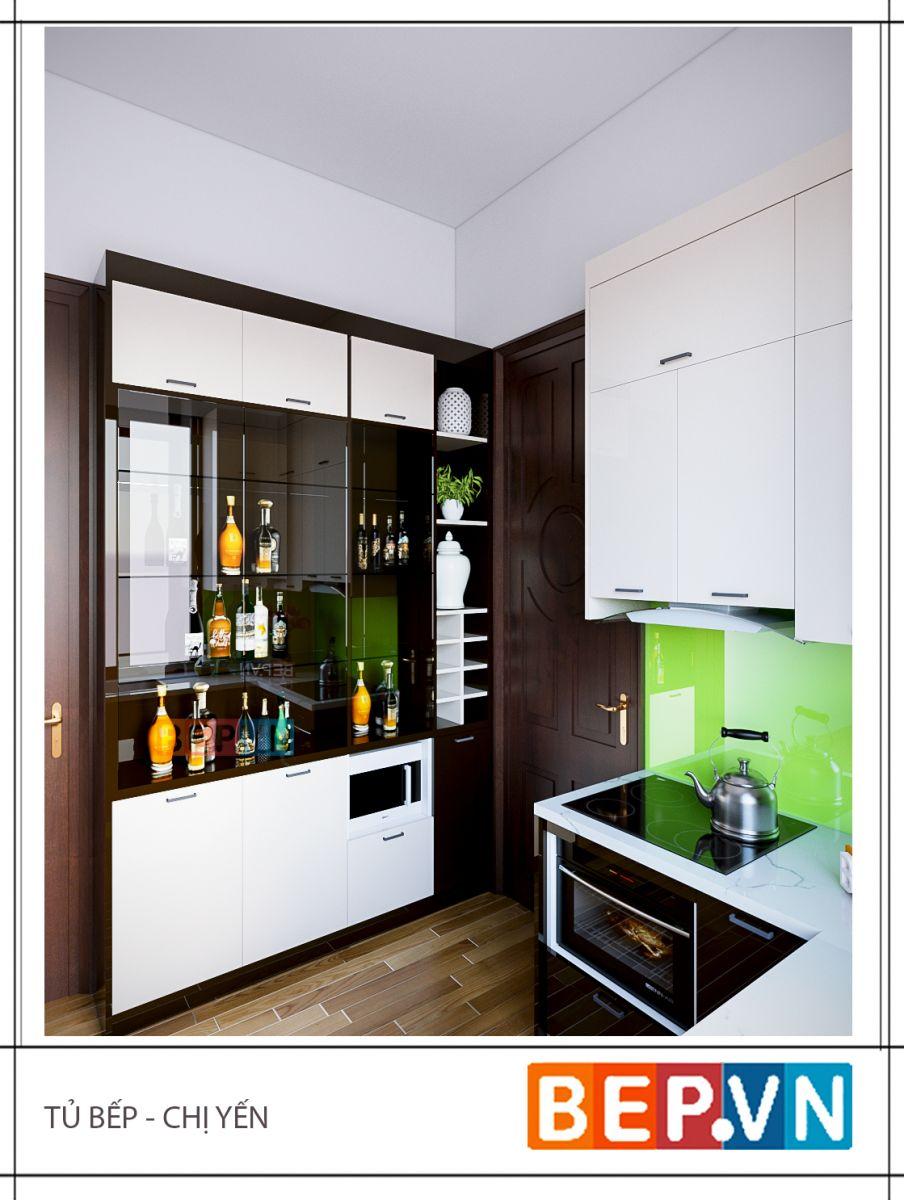 Bị hạn chế về cả không gian lẫn diện tích nhưng với sự tinh tế đến từ các KTS có kinh nghiệm với hàng ngàn công trình nội thất thì căn bếp nhà chị Yến vẫn vô cùng rộng rãi và thoải mái cho các hoạt động.