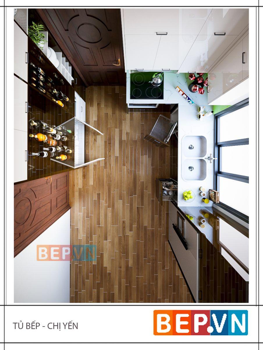 Lợi thế của căn bếp gia đình nhà chị Yến là cửa sổ đón ánh sáng tự nhiên tạo nên sự thoáng đãng cho cả không gian. Đồng thời tủ bếp Acrylic sáng bóng có tác dụng phản chiếu như những tấm gương, khiến không gian như càng được nới rộng hơn.