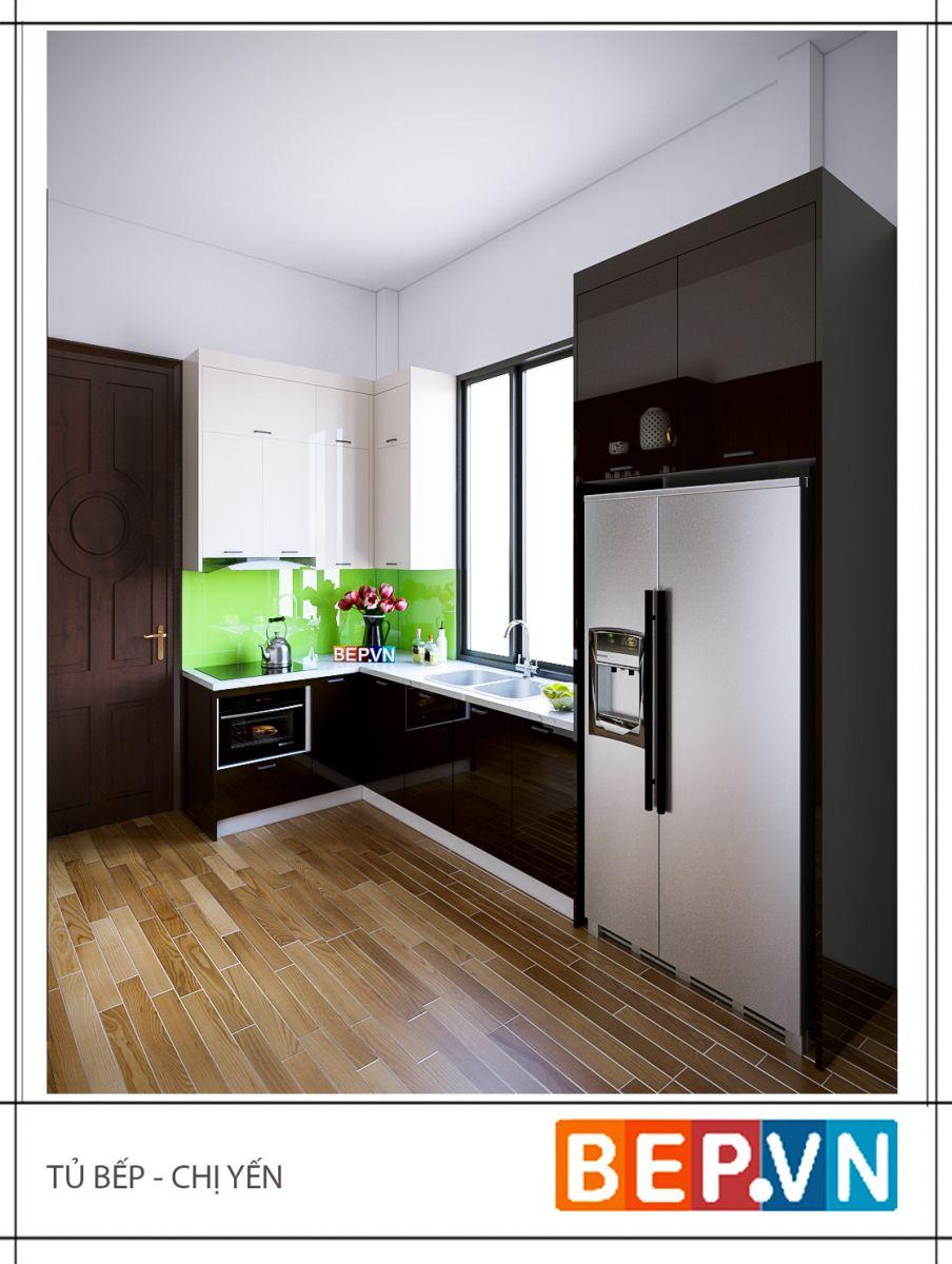 Tủ bếp Acrylic chữ L của gia đình chị Yến chỉ sử dụng khoảng không gian và diện tích rất hạn chế nhưng vẫn đảm bảo tính thẩm mỹ và đầy đủ công năng để sử dụng