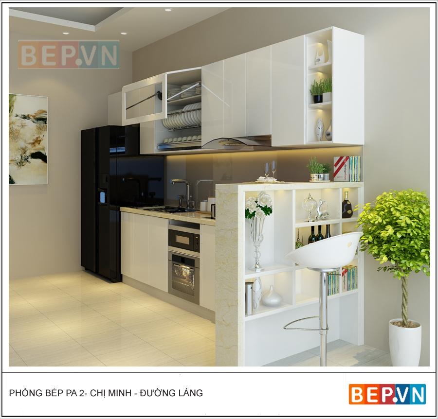 Sử dụng tủ bếp acrylic màu trắng có thể dễ dàng tạo điểm nhấn ở các chi tiết khác còn lại trong căn bếp một cách dễ dàng.