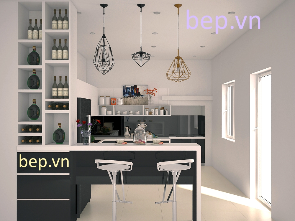 Mặc dù sử dụng tủ bếp màu đen nhưng sự tinh tế khi sử dụng chất liệu và việc bố trí hệ tủ mở giúp căn bếp hoàn hảo theo đúng yêu cầu gia chủ.