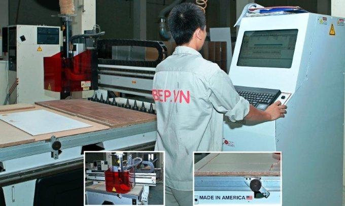 sản xuât tủ bếp - máy cắt cnc của Mỹ