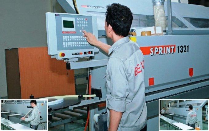 sản xuất tủ bếp - máy dán cạnh tự động của Đức
