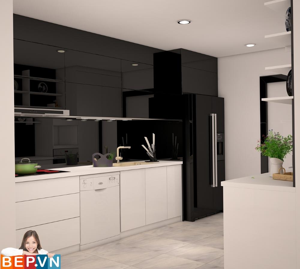 Hệ thống tủ bếp song song màu đen này có tông màu đen trắng được chọn làm chủ đạo trong gian bếp này, vừa đem đến nét thanh lịch, sang trọng, tinh tế, vừa tạo hiệu ứng cực tốt về thị giác.