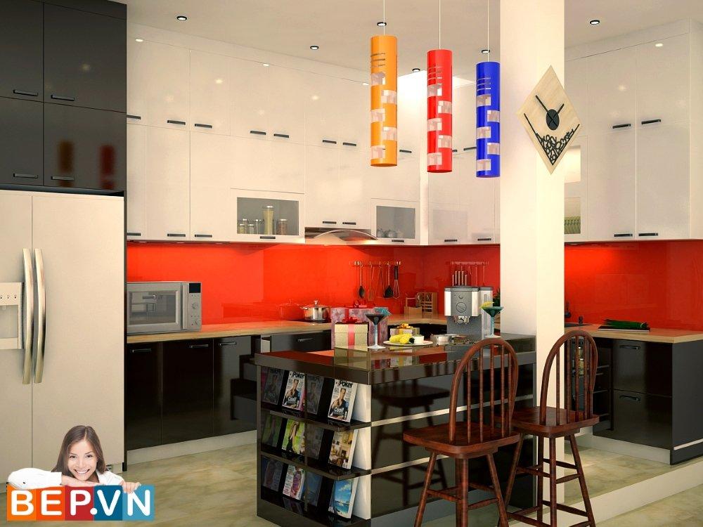 Tủ bếp Chữ L kịch trần với mục đích chính là sửa lỗi của chiếc cột nằm ngay giữa không gian bếp.