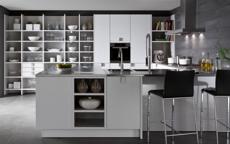Khoang kệ mở trong hệ thống tủ bếp hiện đại 2