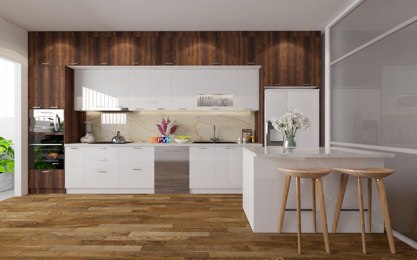 top 10 tủ bếp Laminate phong cách tối giản hiện đại của Châu Âu