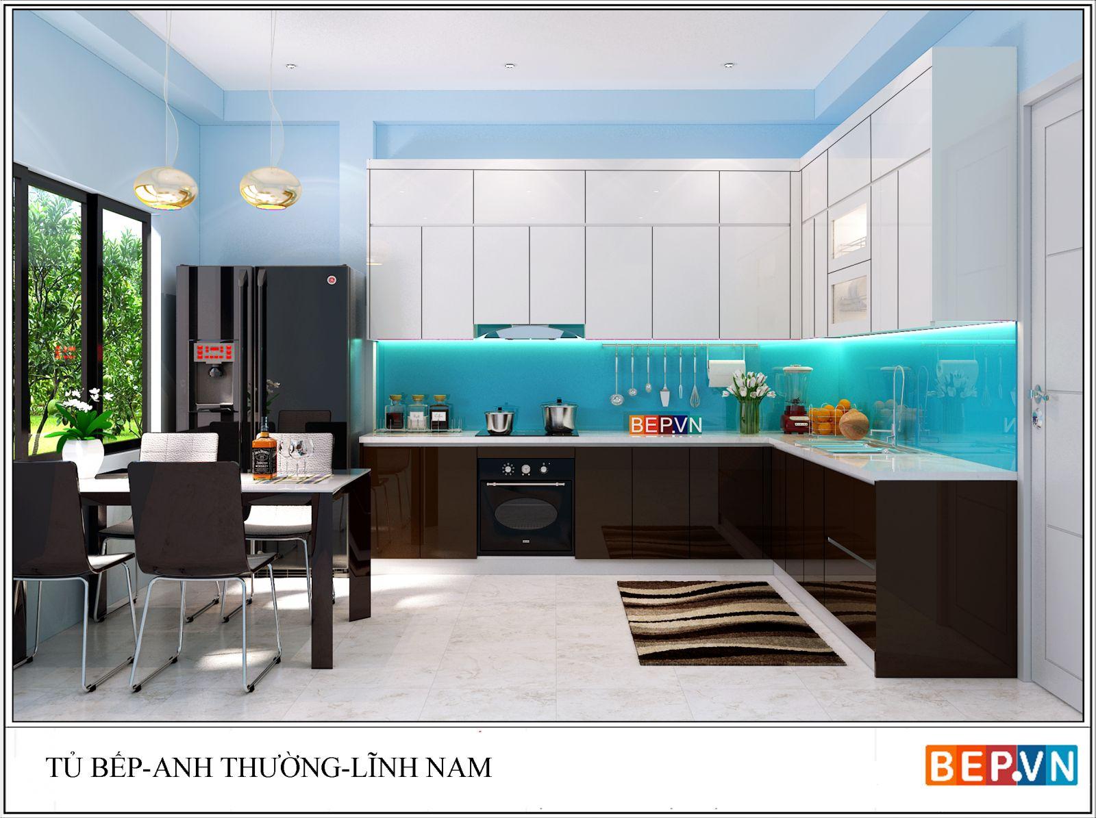 Tủ bếp Acrylic chữ L anh Thường Lĩnh Nam