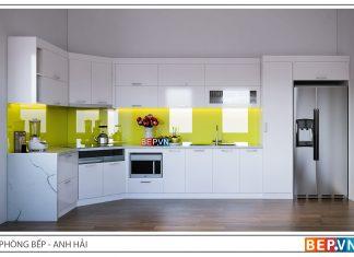 Tủ bếp Acrylic chữ L hiện đại gia đình anh Hải