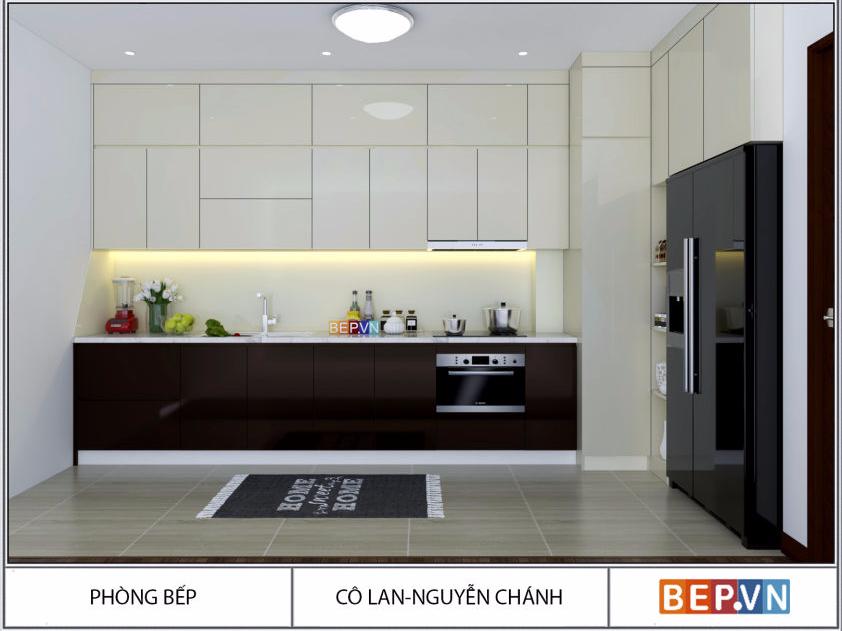 Tủ bếp Acrylic chữ L màu đen gia đình cô Lan _ Nguyễn Chánh