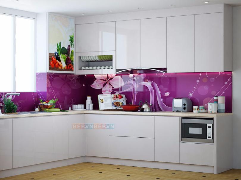Tủ bếp Acrylic dạng chữ L gia đình chú Hải