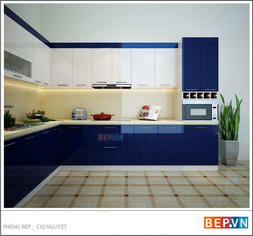 Tủ bếp Acrylic gia đình chị Nguyệt Anh