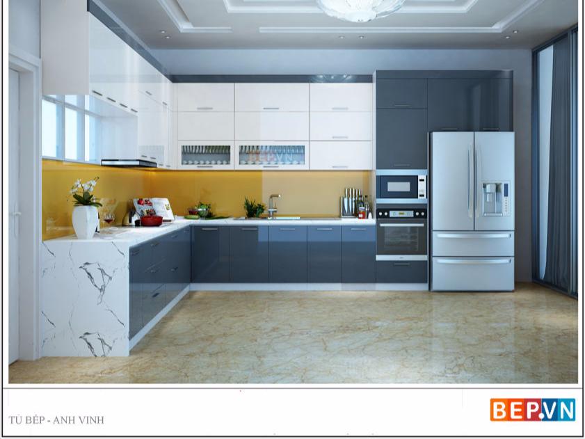 Tủ bếp Acrylic màu xám dạng chữ L gia đình anh Vinh