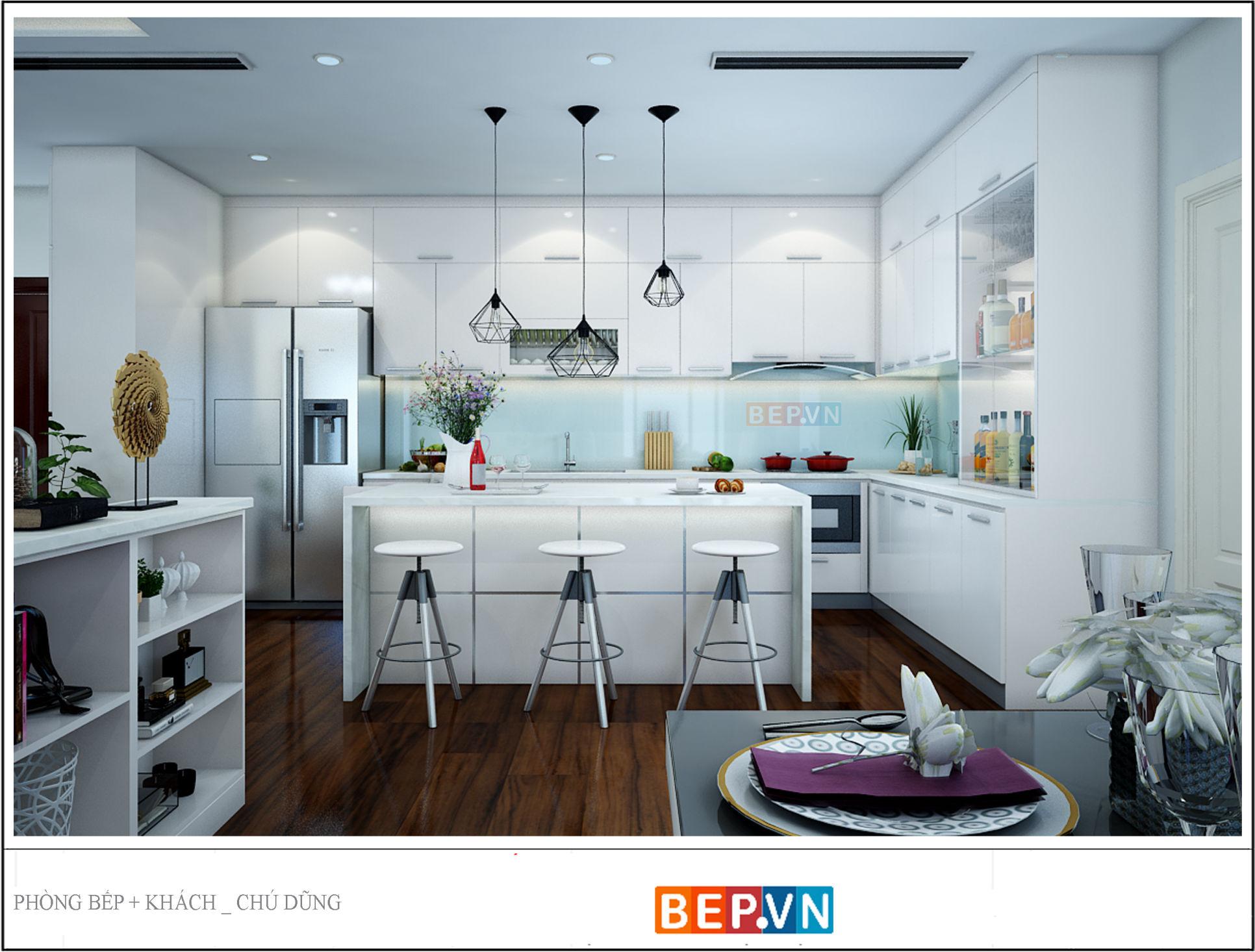 Tủ bếp Acrylic chú dũng Imperial