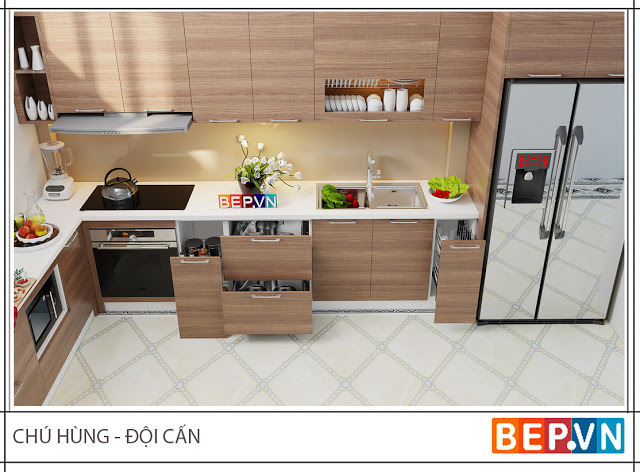 Mẫu tủ bếp đẹp theo phong cách tối giản thu hút gia đình chú Hùng.