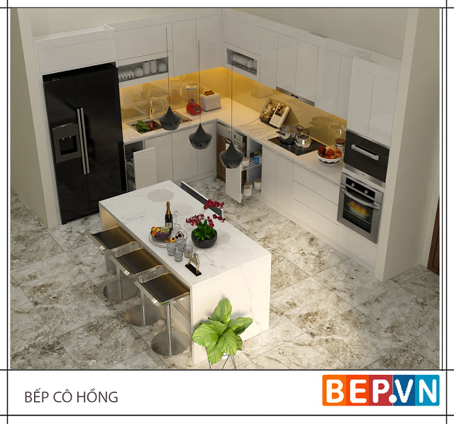 Mẫu tủ bếp đẹp theo phong cách tối giản gia đình cô Hồng