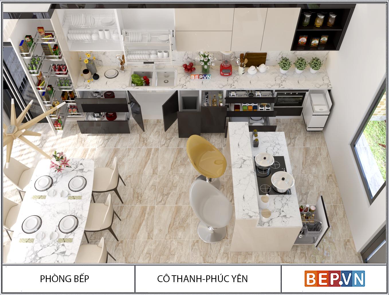 Tủ bếp Acrylic nhà cô Thanh