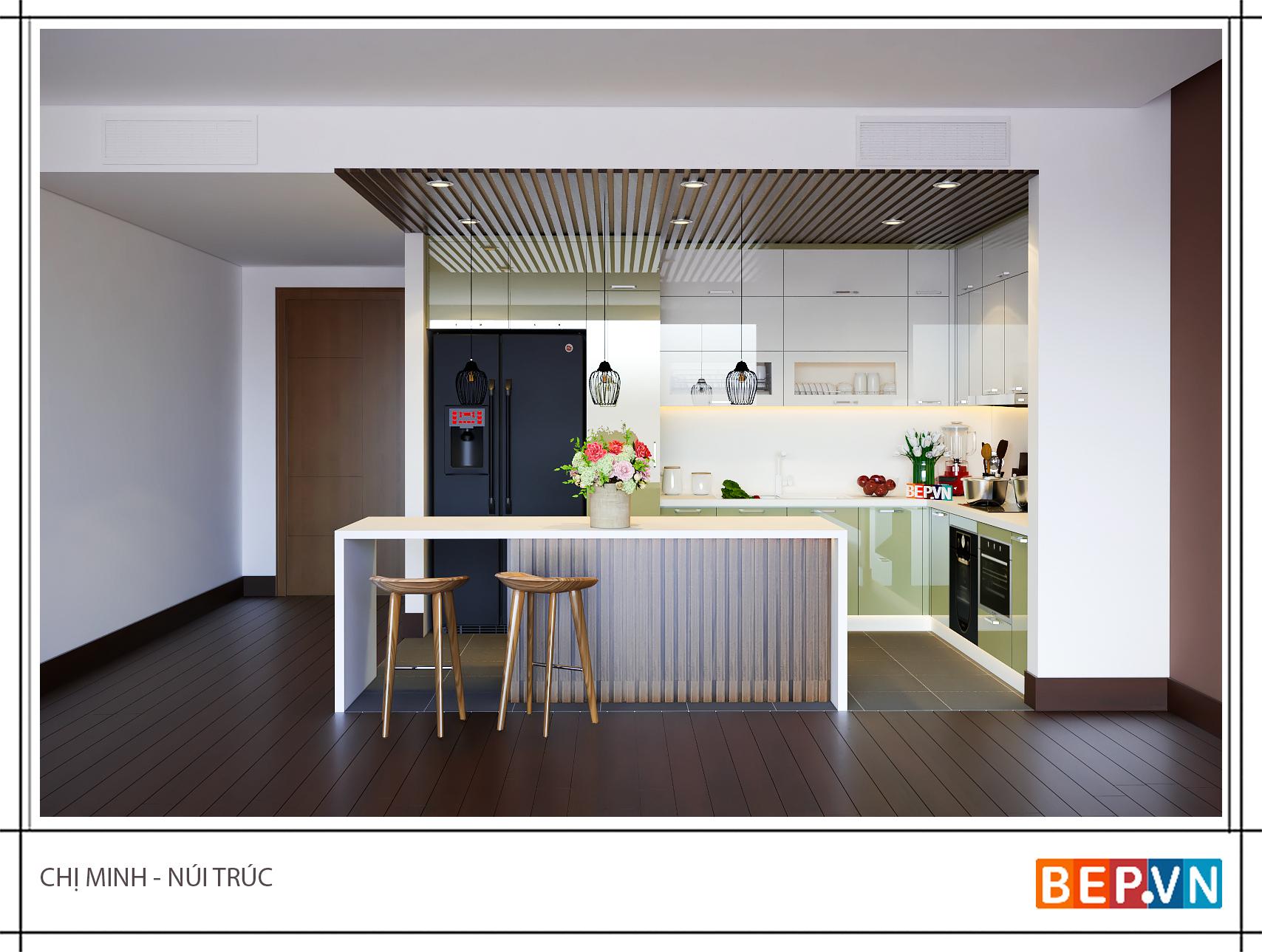 Tủ bếp gỗ công nghiệp phủ Acrylic nhà chị Minh