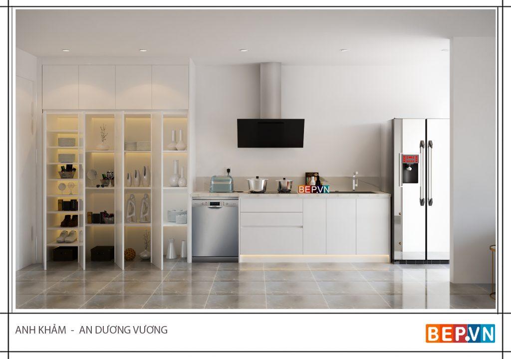 Mang lại sự thông thoáng và tiện lợi là mục đích của thiết kế tủ bếp mở.