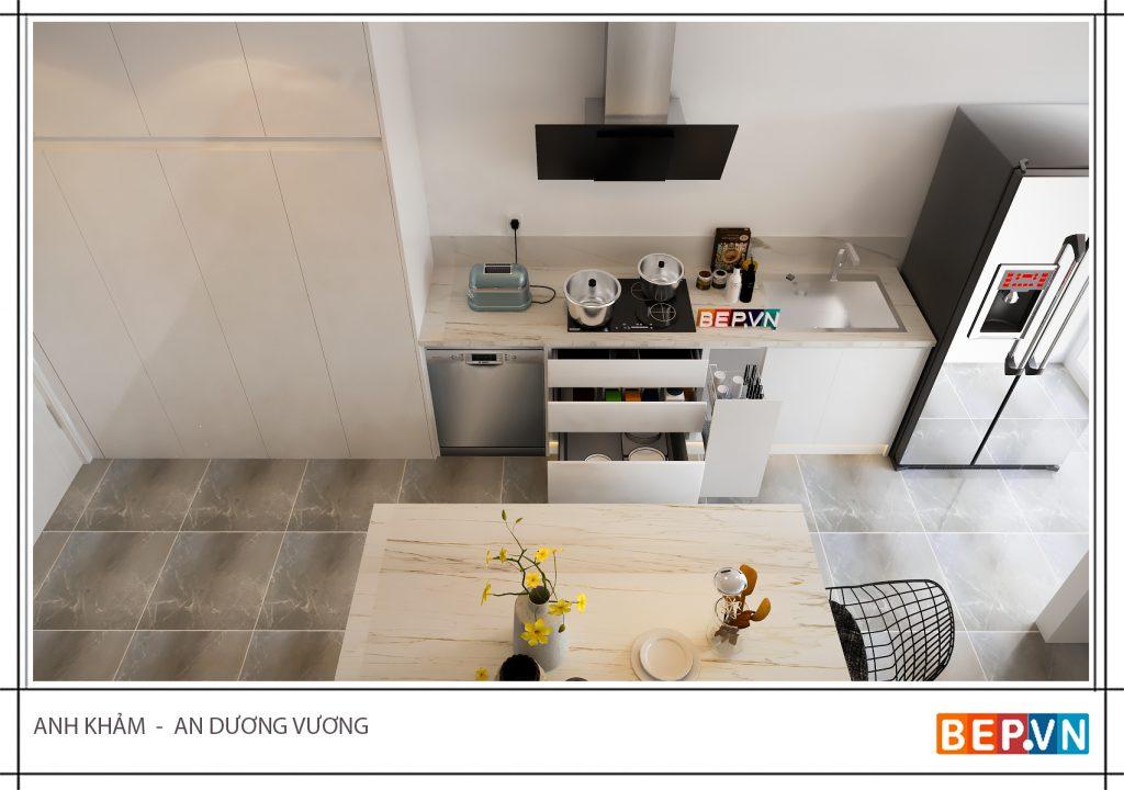 Thiết kế tủ bếp mở cũng được ưu ái khi bạn không cần sử dụng quá nhiều tủ kín.