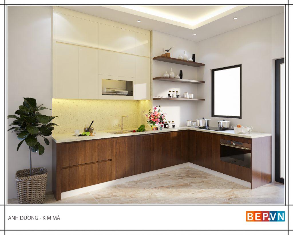 Thiết kế tủ bếp mở hiện đại phù hợp hầu hết các không gian.