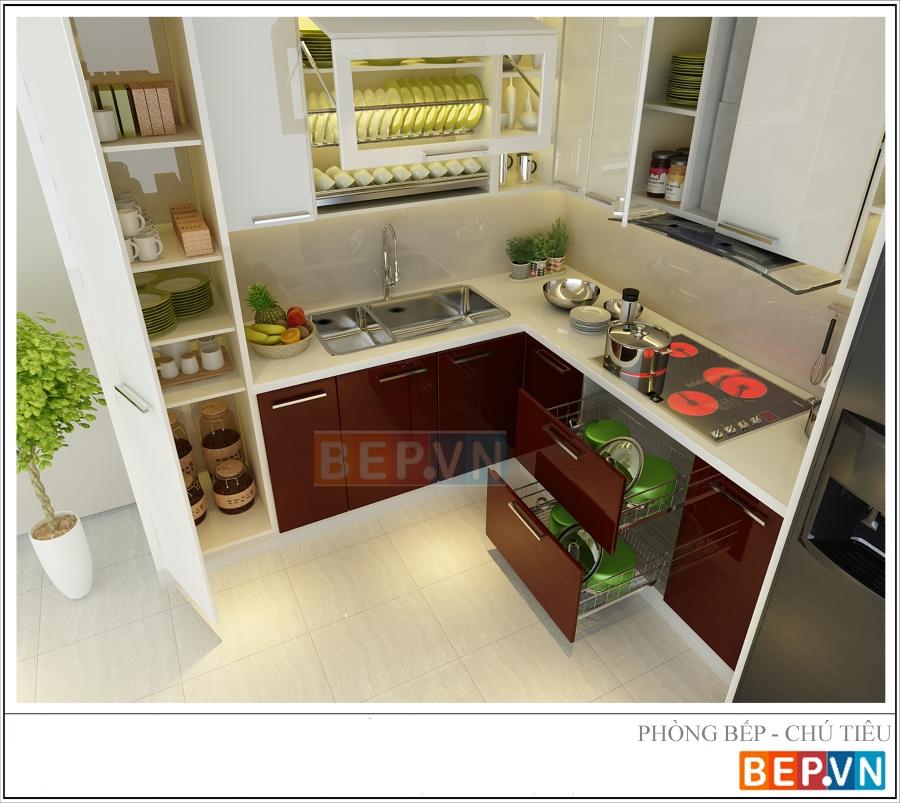 Tủ bếp Acrylic cho nhà bếp nhỏ gia đình chú Tiêu.
