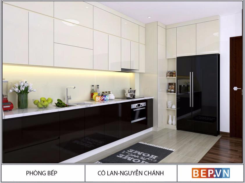 Tủ bếp Acrylic chữ L màu đen gia đình cô Lan Nguyễn Chánh.