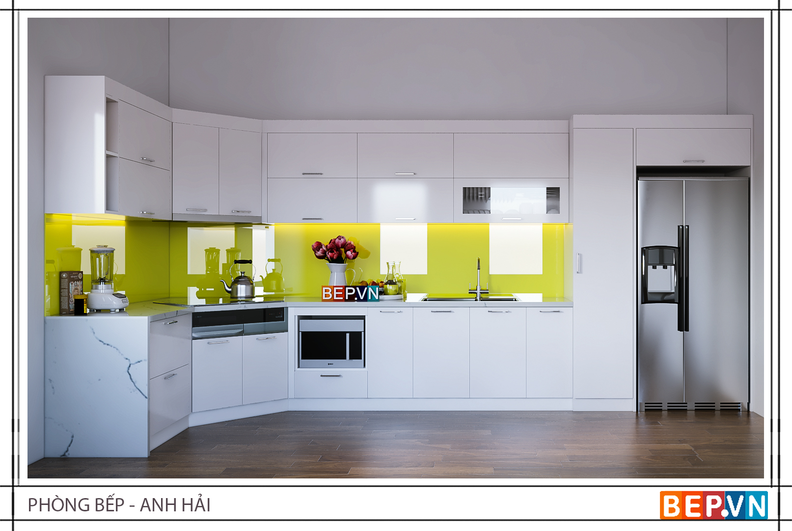 Tủ bếp acrylic chữ L hiện đại gia đình anh Hải với điểm nhấn ở tường chắn bếp và thiết kế cắt cạnh nhằm tối ưu hóa không gian lưu trữ của căn bếp.