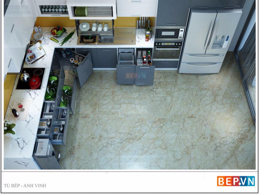 Tủ bếp Acrylic màu xám dạng chữ L gia đình anh Vinh.
