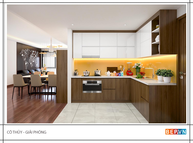 Tủ bếp Acrylic và Laminate chữ L hiện đại gia đình cô Thủy.