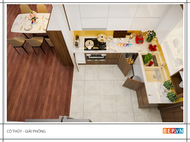 Thiết kế tủ bếp Acrylic và Laminate theo chữ L gia đình cô Thủy sử dụng màu sắc rất hài hòa nhã nhặn khiến căn bếp không chỉ sang trọng mà còn vô cùng thanh lịch.