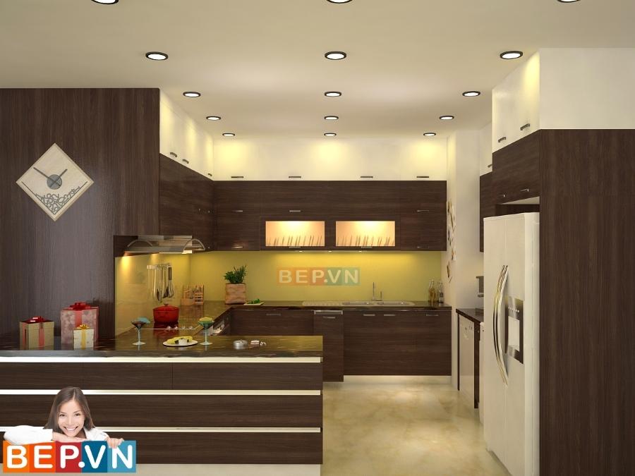 Tủ bếp Laminate mang lại không gian ấm cúng