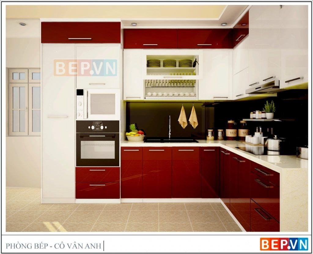 Thiết kế tủ bếp kịch trần gia đình cô Vân Anh.