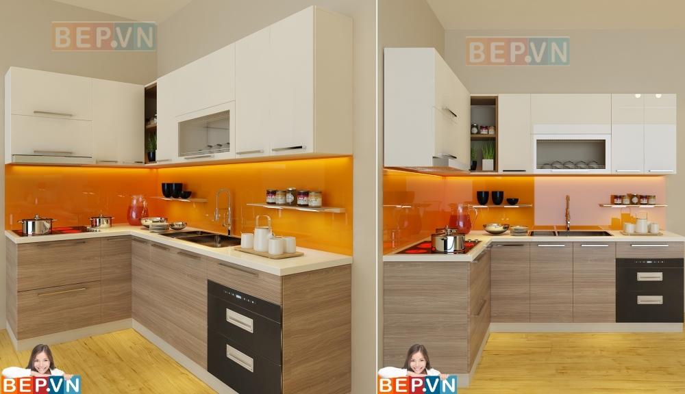 Thiết kế tủ bếp màu vàng gia đình anh Phong.