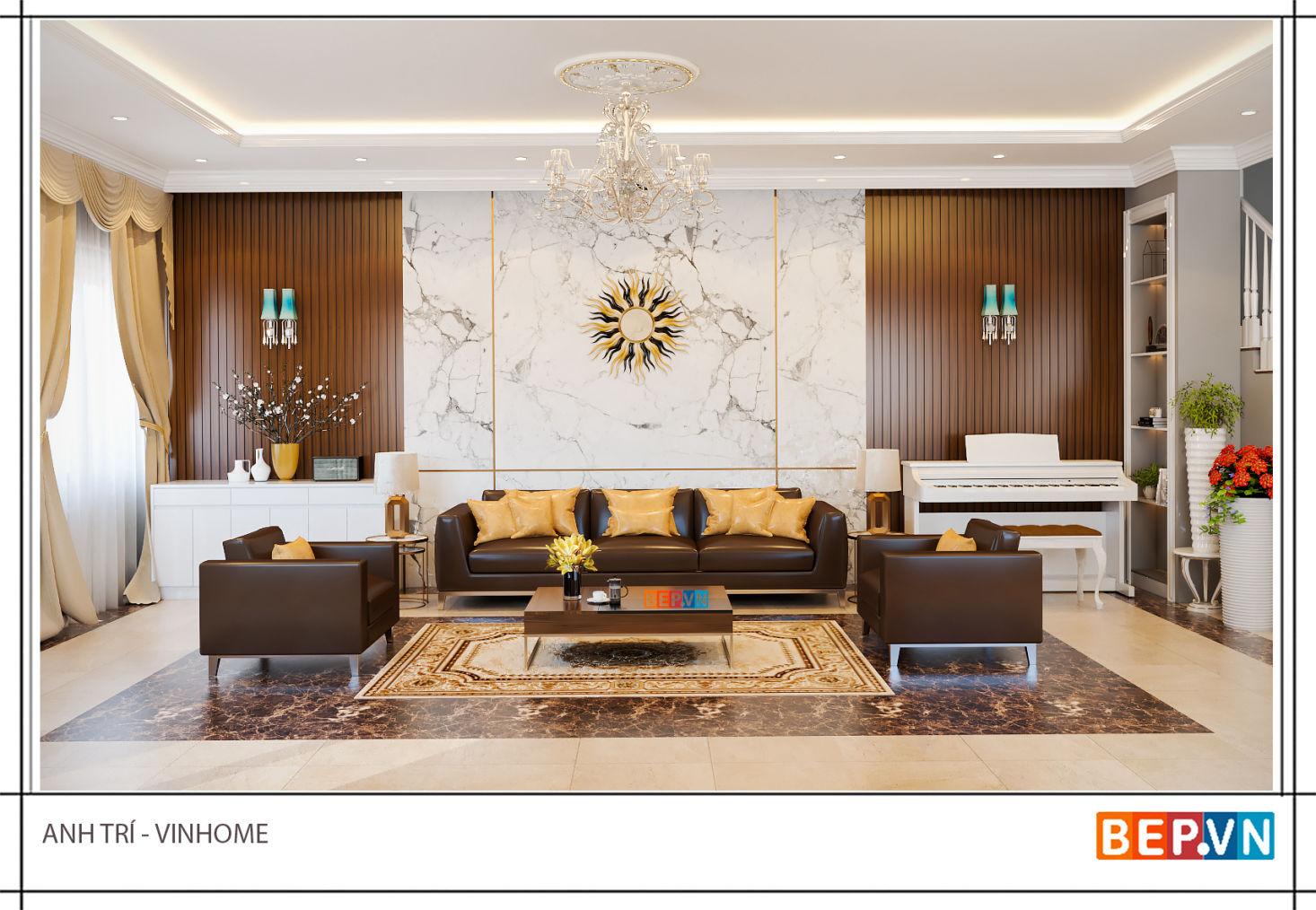 Thiết kế phòng khách anh Trí - vinhome