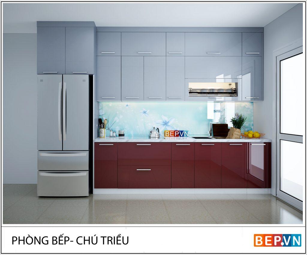 Tủ bếp chữ I trắng – đỏ