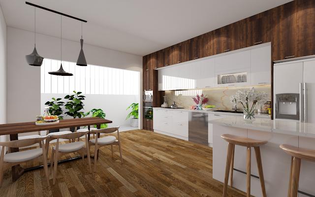 mẫu tủ bếp gỗ công nghiệp phủ Laminate cao cấp