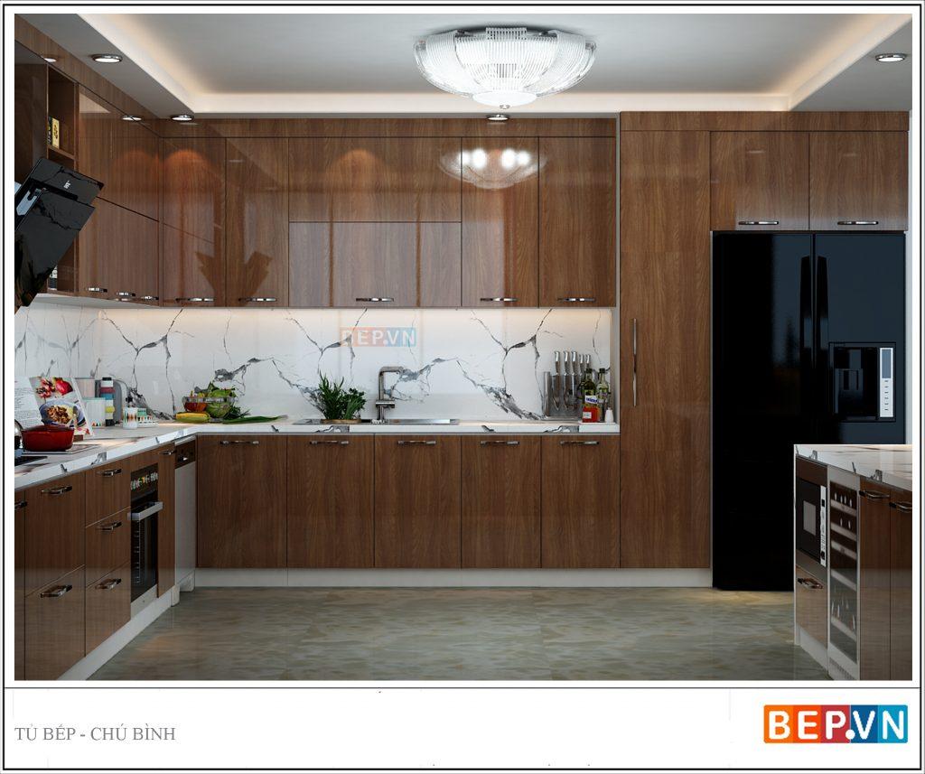 Tủ bếp âm tường mở rộng không gian