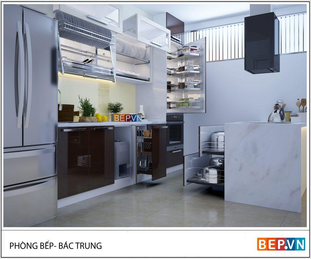 Nhà bếp sử dụng kệ áp tường