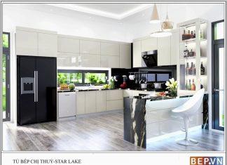 Mẫu tủ bếp Acrylic chữ U gia đình chị Thủy Starlake