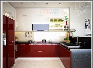 Mẫu tủ bếp Acrylic chữ U màu đỏ gia đình cô Minh