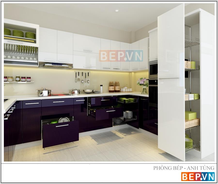 Mẫu tủ bếp Acrylic chữ U màu tím gia đình anh Tùng